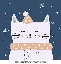 gato, neve, cartão, natal, vetorial, desfrutando, branca