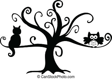 gato, noturna, árvore, dia das bruxas, coruja
