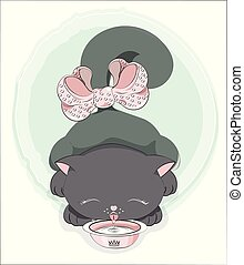 gato, pretas, leite, bebidas