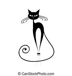 gato, pretas, seu, desenho, silueta