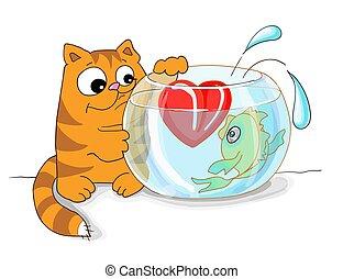 gato tabby, valentines, vetorial, coração, ilustração, aquário, dia, catehes