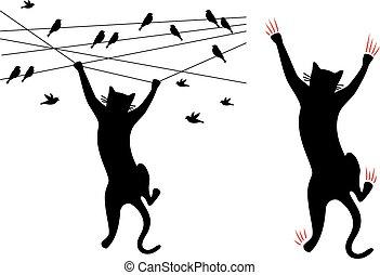 gato, vetorial, pretas, escalando, fio, pássaros