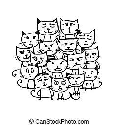 gatos, esboço, família, desenho, seu