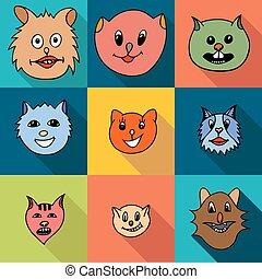 gatos, jogo, ícones