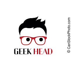 geek, logotipo, cabeça, template.