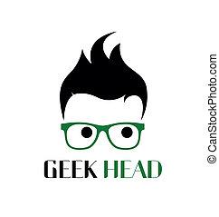 geek, logotipo, estilo, template.