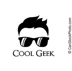 geek, logotipo, modelo, fresco