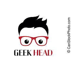 geek, pessoa, modelo, logotipo