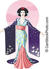 geisha, desenho, personagem, retro, atraente, atriz, japoneses