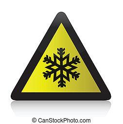 gelado, aviso, triangular, sinal