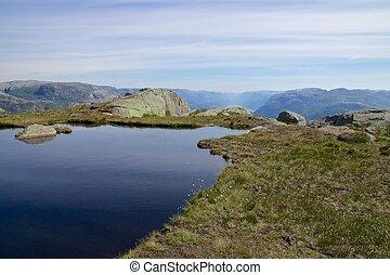 geleira, lysefjord, lago