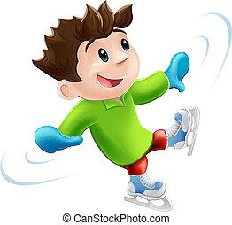 gelo, caricatura, patinação