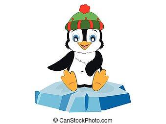 gelo, pedaço, senta-se, pingüim, cute