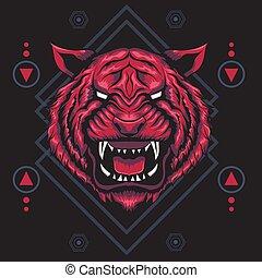 geometria, tiger, sagrado, vermelho