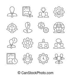 gerência, esboço, ícones negócio, fundo, branca