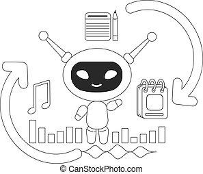 gerência, magra, software, esperto, assistente, linha, personagem, chatbot, conceito, criativo, planificação, vetorial, ajudante, caricatura, bot, idéia, tempo pessoal, illustration., robô, tarefa, teia, design., 2d