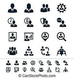 gerência, recurso, human, ícones