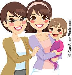 geração, família jovem, três