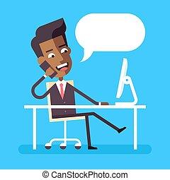 gerente, cruzado, paleto, americano, sentando, -, businessman., africano, escrivaninha, pernas, célula, cute, computador, bonito, vetorial, caricatura, apartamento, estoque, illustration., formal, falando, personagem, telefone.