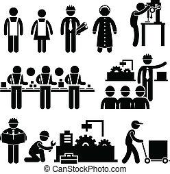 gerente, trabalhador, fábrica, trabalhando