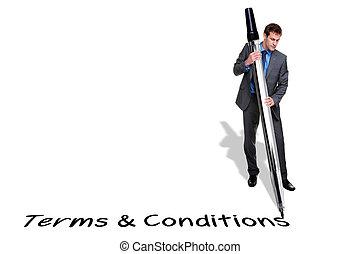gigante, termos, caneta escrito, homem negócios, condições