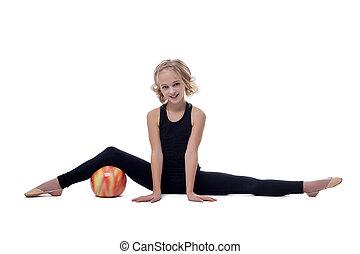 ginasta, jovem, alegre, posar, divisão, flexível