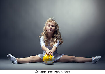 ginasta, pequeno, posar, divisão, fascinante