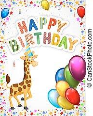 girafa, caricatura, aniversário, feliz