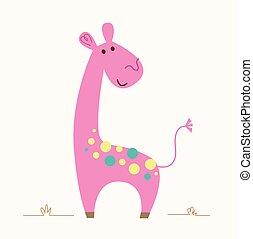 girafa, cor-de-rosa