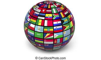 girar, esfera, bandeiras, mundo