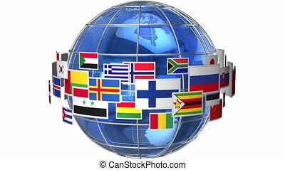 girar, globo mundial, bandeiras