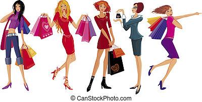 girl., vetorial, shopping, bonito, ilustração
