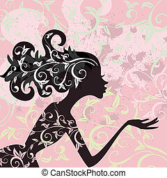 glamour, cabelo, menina, ornamento