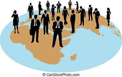 global, força, pessoas negócio, trabalho, recursos