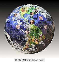 global, pessoas, rede