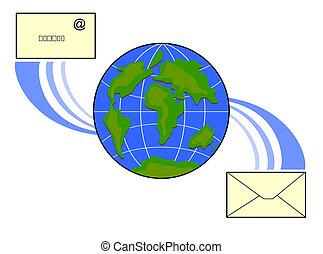 globo, email, ícone