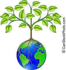 globo mundial, árvore