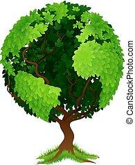 globo mundial, conceito, árvore, terra