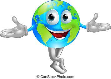 globo mundial, mascote, homem