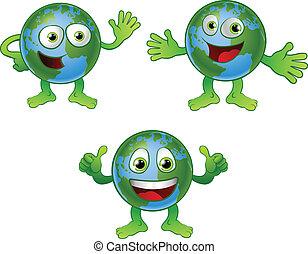 globo mundial, personagem, caricatura