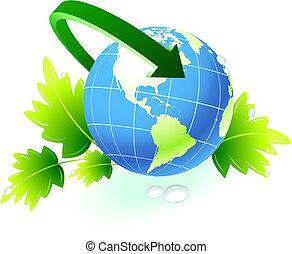 globo, seta, fundo, natureza