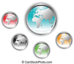globo terra, button.