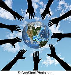 globo terra, mãos, alcance, pessoas