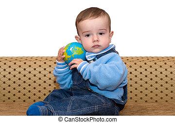 globo, toddler, segurando