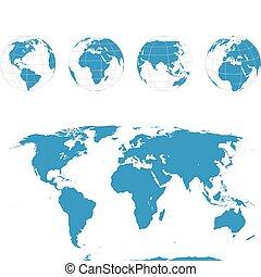 globos, mapa, vetorial, -, mundo