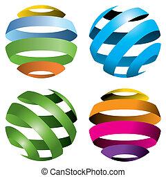 globos, vetorial, 4