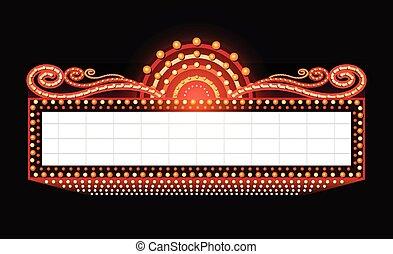 glowing, brilhantemente, cinema, sinal, teatro, retro, néon