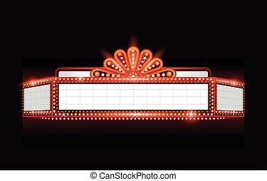 glowing, brilhantemente, cinema, vetorial, sinal, teatro, retro, néon