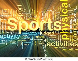 glowing, fundo, actividades desportivas, conceito