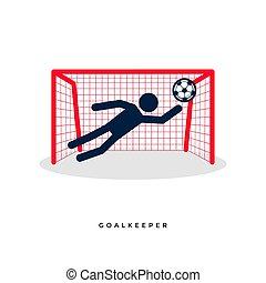 goalkeeper., futebol, figuras, vara, futebol, ou